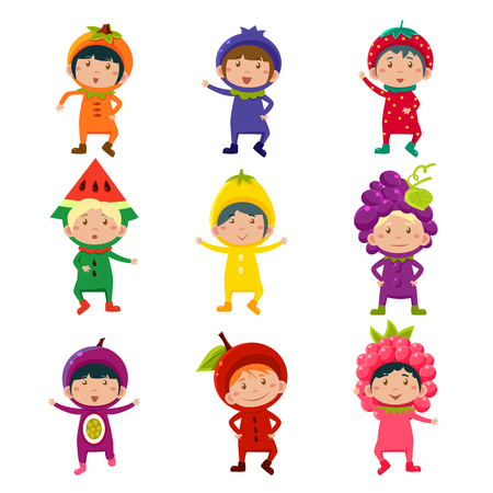 raspberry dress: Set of cute children wearing fruit and berry costumes Vector Illustration