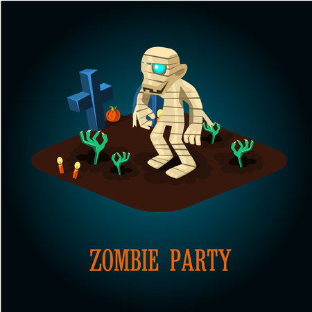 haloween: Zombie mummy at night on a Haloween Cemetery Vector Illustration Vectores