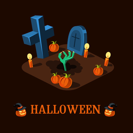 haloween: Zombie hand at night on a Haloween Cemetery Vector Illustration Illustration