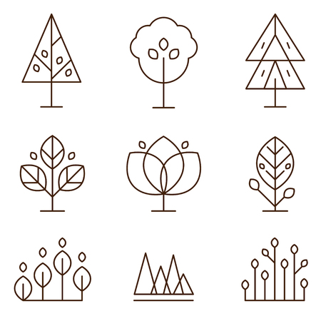 copse: Trees and plants in thin line style icons set vector illustration