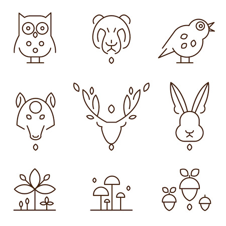 animal heads: Animal heads and plants in thin line style icons set vector illustration