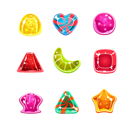 Set of colorful glossy candies of various shapes Vector Illustration