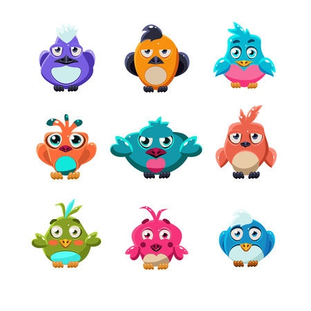 twit: Cartoon collection of funny colourful cute little birds vector illustration set Illustration
