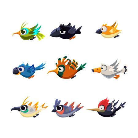 twit: Cartoon collection of flying funny colourful cute little birds in profile vector illustration set