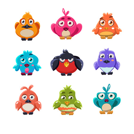 bird illustration: Cartoon set of funny colourful cute little birds vector illustration collection