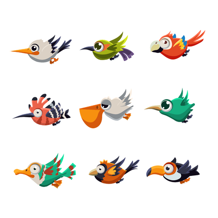 Cartoon collection of funny colourful flying profiles of birds vector illustration set