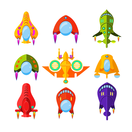 cartoon rocket: Set of cartoon colourful spaceships and rockets for games, Vector Illustration Collection Illustration