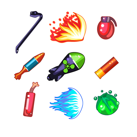 munition: Set of weapon and fire icons for games, cartoon vector illustration collection Illustration