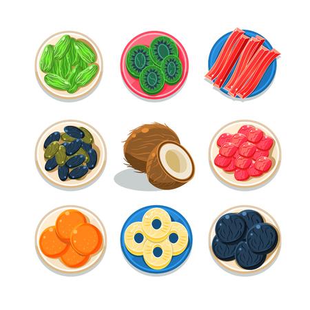 frutos secos: Conjunto de colorido friuts confitadas Ilustración Vector