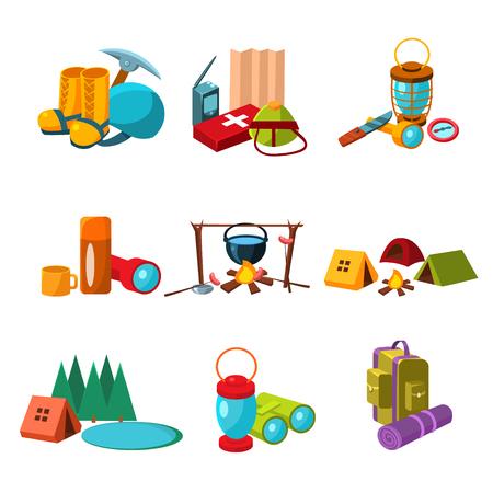 escalando: Conjunto de senderismo, escalada y camping iconos, colección de ilustraciones vectoriales Vectores