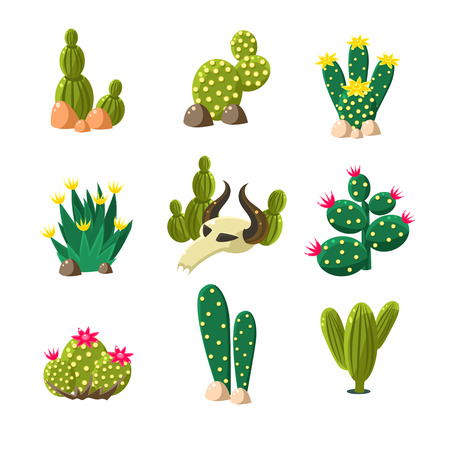 desierto del sahara: Iconos de los cactus en las rocas con un cráneo, un conjunto de ilustraciones de vectores de paisaje del desierto Vectores