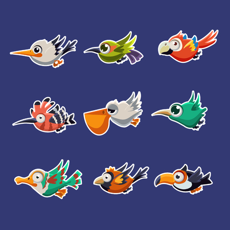 twit: Cartoon collection of funny colourful flying profiles of birds vector illustration set