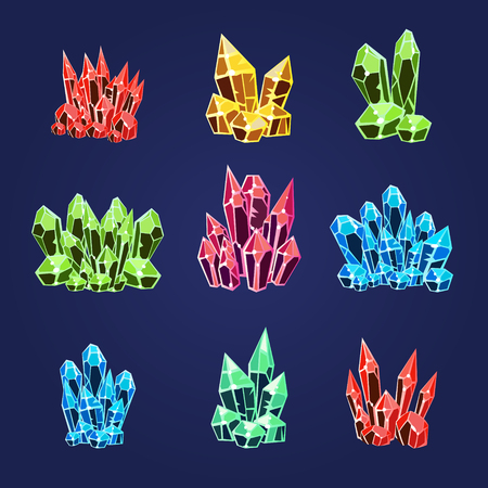 stalagmite: Collection of colourful magic crystals set of icons vector illustration
