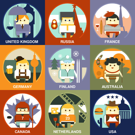 englishman: Representatives of different nationalities from different countries on the traditional background in national clothes. Vector illustration in flat style collection