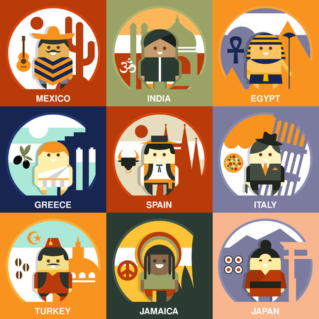 nationalities: People of different nationalities from different countries on the national background in traditional clothes. Vector illustrations in flat style collection Illustration