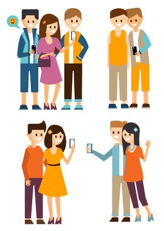 Los jóvenes se comunican en los medios sociales y tomar fotos, hacer selfies. Estilo plano ilustración vectorial