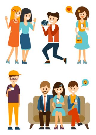 smart man: Young people communicate in the social media and take pictures. Flat style vector illustration