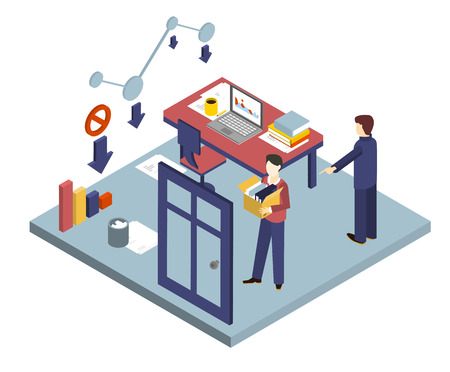 unemployed dismissed: Boss dismissed an employee. Isometric 3d vector illustrations