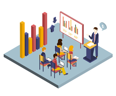 discussion meeting: Isometric vector illustration of a meeting or presentation 3d