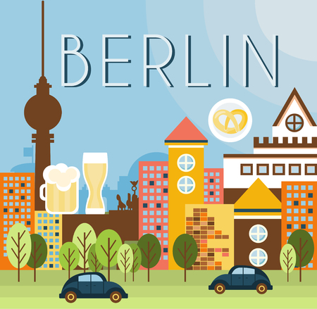 lanscape: Berlin houses and lanscape of the city vector flat vector illustration