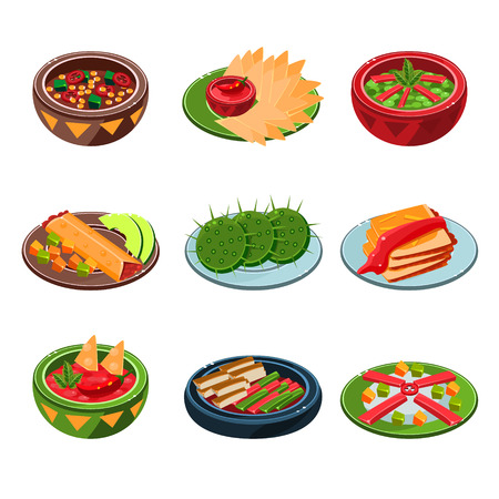 dishes set: National and Traditional Mexican dishes set of vector illustration