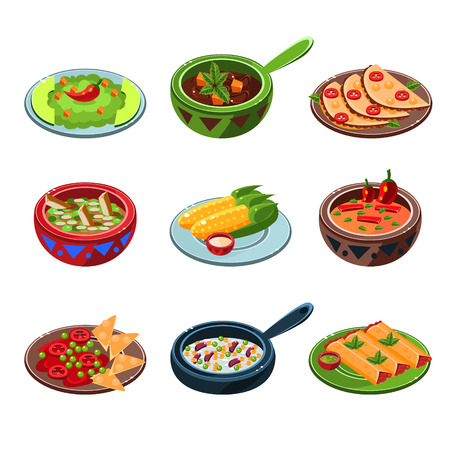 enchiladas: Traditional Mexican dishes set of icons vector illustration