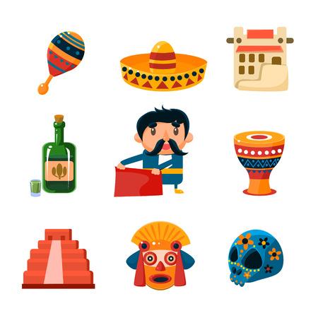 caballo bebe: Conjunto de cosas mexicanos tradicionales nacionales y oyectos colección de ilustración vectorial Vectores