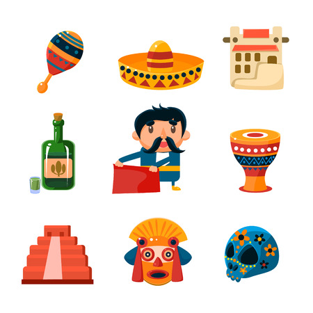 poncho: Set of traditional national mexican things and ojects collection of vector illustration Illustration