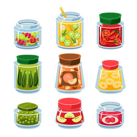 preserve: Set of transparent cans with fruits, vegetables and candies vector illustration collection Illustration