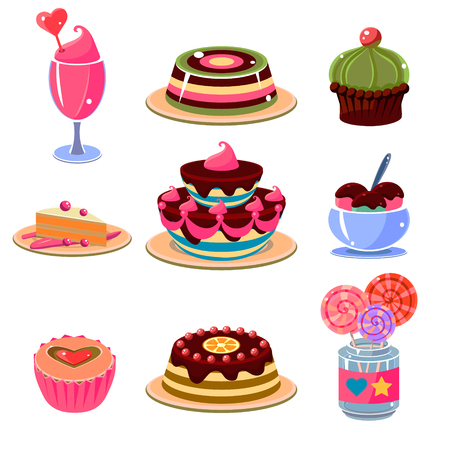 dessert: Set of bright and colourful dessert icons. Vector illustration collection.