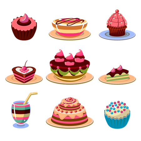 trozo de pastel: Conjunto de iconos coloridos y sabrosos postres. ilustración vectorial colección.