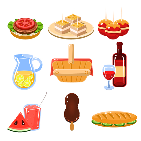picnic food: Set of bright icons of traditional french picnic food and drinks vector illustration collection Illustration