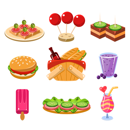 picnic food: Set of colourful icons of traditional french picnic food, snacks and drinks vector illustration collection