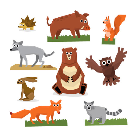 brown hare: Set of flat style edgy wild forest animals vector illustration Illustration