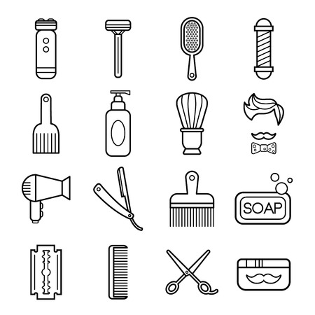 haircutter: Beauty and care linear icons collection. Barber shop icons set vector illustration Illustration