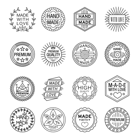 Vector illustration set of linear badges and logo design elements - hand made, made with love and handcrafted Çizim