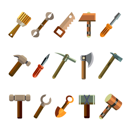 pick axe: Vector illustration of the building instrument icons in flat style