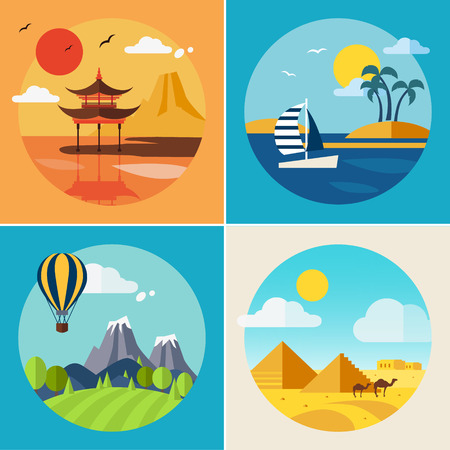 Summer landscapes of vacation and travel. Vector flat illustration set