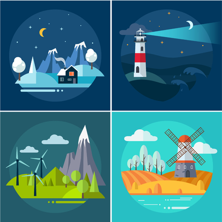 Landscapes of adventure and travel. Vector flat illustration set Illustration
