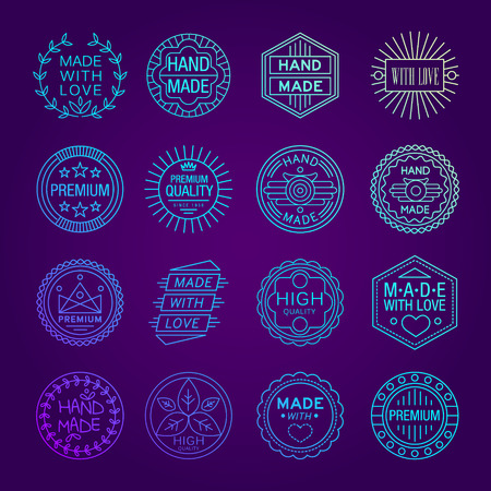 handcrafted: Vector illustration set of linear badges and logo design elements - hand made, made with love and handcrafted Illustration