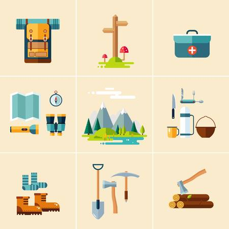 ice ax: Set of hiking and camping equipment. Flat design vector illustrations set