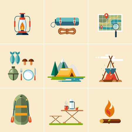 sleeping bag: Set of hiking and camping icons. Flat design vector illustrations set