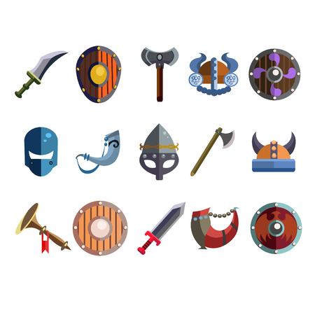 Set of cartoon viking weapon and equipment for games. Vector illustration collection