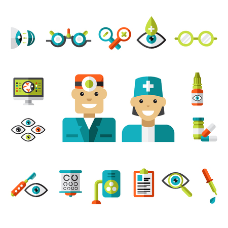 eye exams: Set of ophtalmology icons in flat style. Collection of vector illustrations