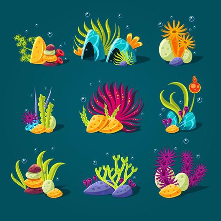 corales marinos: Conjunto de algas de dibujos animados, elementos para la decoración del acuario. Ilustración vectorial