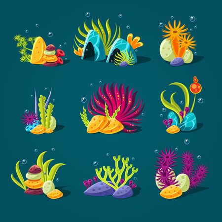 weed: Set of cartoon algae, elements for aquarium decoration. Vector illustration