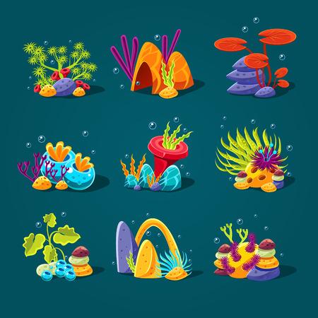 algae cartoon: Set of cartoon algae, elements for aquarium decoration. Vector illustration