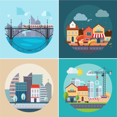 市と町の建物や風景のアイコン、フラットなデザインのベクトル図