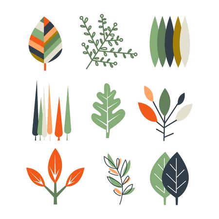 hojas secas: Colecci�n de dise�o plano deja ilustraci�n vectorial conjunto