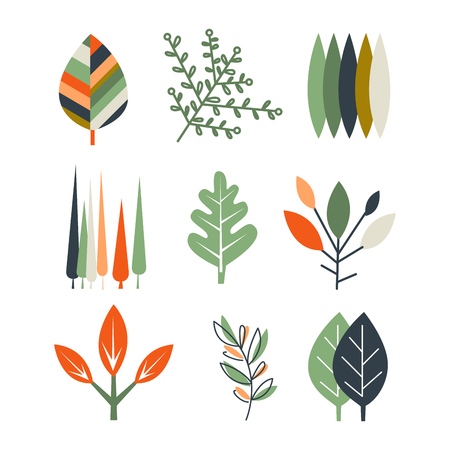 flat leaf: Collection of flat design leaves vector illustration set